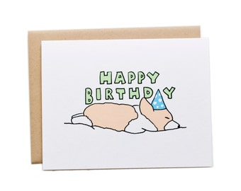 Happy Birthday Sleeping Corgi Card, Corgi Birthday Card, Dog Birthday Card, Sleeping Corgi Card