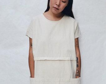 Smock Dress in Brushed White Twill // White Denim Dress - White Dresses - Denim Smocks - Women's Hand-made Clothing