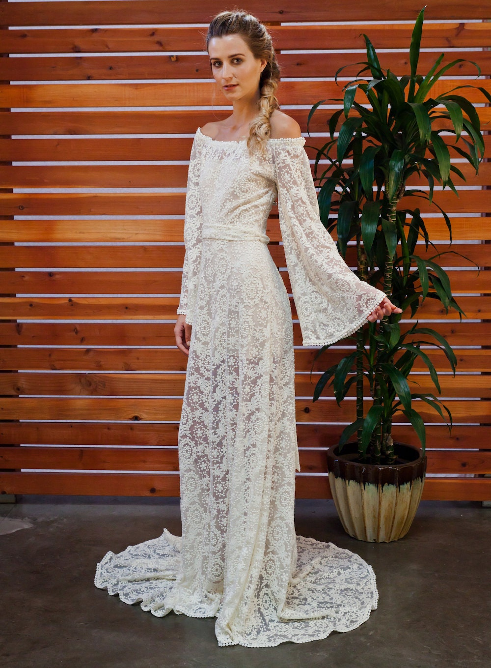 Sydnie off shoulder rustic bohemian wedding dress boho off for Boho country wedding dress