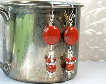 Red Jasper Earrings Jasper Jewelry Red Dangle Earrings Stone Earrings Gemstone Jewelry, Sterling Silver Earrings, Boho Jewelry Gift For Her