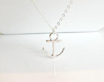 Anchor Necklace, Silver Anchor Necklace, Silver Necklace, Nautical Jewelry, Beach Wedding, Bridesmaid Gifts, Christmas Gifts, UK Seller