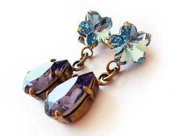 Teardrop and Flower Rhinestone Earrings in Tanzanite and Blue