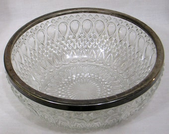 Beautiful Vintage Glass Bowl Silverplate Rim Pressed Glass Teardrop and Sawtooth Design