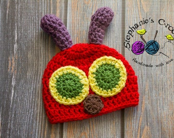 Crochet Newborn baby Hungry Caterpillar Hat, PHOTO PROP, Hungry Caterpillar beanie-Made to order