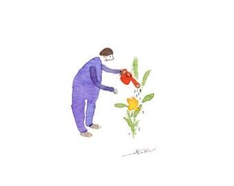 tiny art little gardener watercolour art, miniature gardening illustration, garden, japanese art, minimalist watercolour painting ORIGINAL