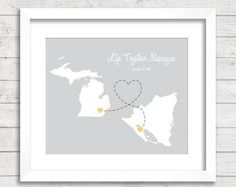 8x10 International Love Map - Two Countries, One Print - Saline, Michigan - Managua, Nicaragua - Long Distance Love