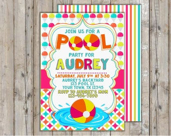 Pool Party Invitation/Summer Party Invitation/Luau Invitation/Pool Party Printables