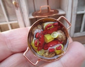 Dollhouse Miniature - Crab Fest / Crab Boil with Potatoes, Lemons, Corn on the Cob - Great for Seafood, Nautical, Maryland Crab