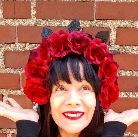 ROSE  Head Dress Artifical Red Roses Full Bloom Deep Red Black