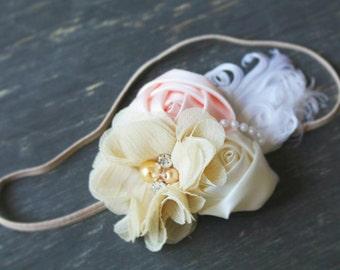Newborn cream rosette headband, baby headband , Vintage headband, Photography Prop