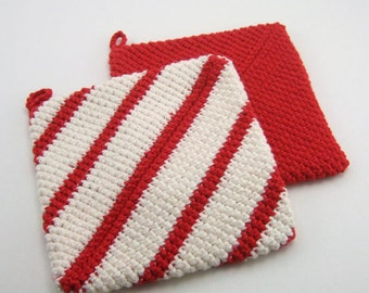 Red and White Stripes Double Thick Crochet Pot Holders-----set of 2
