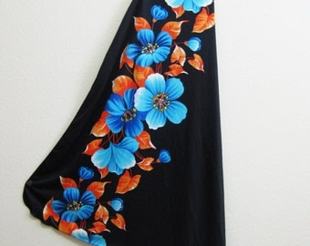 Hawaiian Wrap Skirt Black - Floral Beach Resort Small Medium Large
