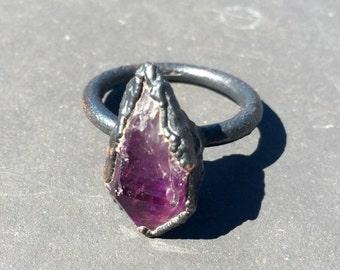 Raw Amethyst Ring - Raw Copper Ring - Raw Crystal Ring - Gemstone Ring Size 7 - Electroformed Ring - February Birthstone Jewelry