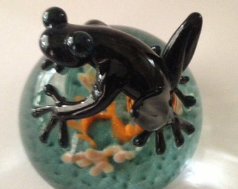 Cobalt blue glass frog on paperweight