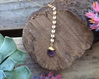 Violet Dusk Necklace   Amethyst Gold Filled Lariat Y