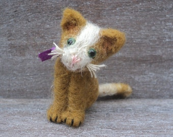 Miniature needle felted brown and white cat