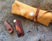 handmade golden tan deerskin pouch with silver buffalo, primitive pouch, tribal bag, frontier pouch, rendevous, reenactment, USA made