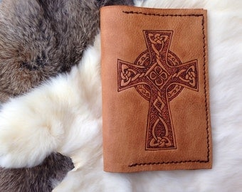 celtic cross leather field journal, passport wallet, rustic leather writer's log, travel journal, notebook wallet, pyrography, handcrafted