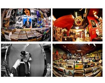 Set of 4 Fine Art Photography Prints.Fisheye.Atlanta.Little Five Points.Clowns.Records.