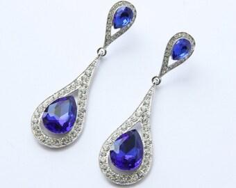 Bridal Earrings, Sapphire Blue Crystal Teardrop Bridal Earrings, Bridesmaids Earrings, Something Blue Earring, Wedding Earrings