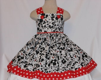 Mickey Mouse, Dress, Disney Mickey Dress, CustomBoutique Style MickeyMouse Dress, Unique and Handmade, for girls of all ages, Birthday Dress
