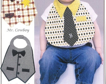 Super Bowl Sale Pattern - Dude Babies Masculine Bibs Paper Sewing Pattern by Vanilla House Designs