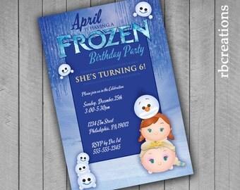 Frozen Tsum Tsum Birthday Invitation, Tsum Tsum Party, Frozen Fever Invitation, Tsum Tsum Invitation, Frozen Invitation - Digital Printable