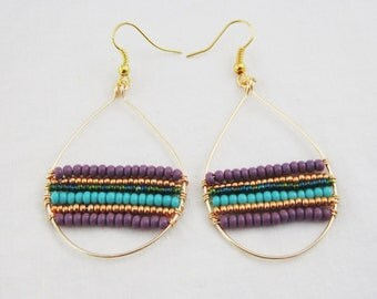 Queen of the Nile Hand Beaded Earrings