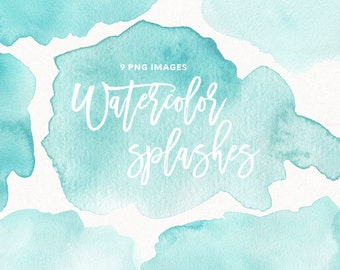 Watercolor Splashes Clipart Mint, Blue, Teal, Turquoise, Watercolor Brush Strokes, Blots, Splatters, Abstract Background, Commercial Use