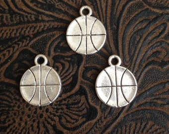 24 Pieces Basketball charms, double sided basketball charms, 15mm antique silver finish silver basketball charms 5-19-AS