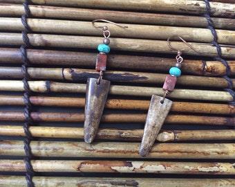 Africentric Jewelry - Jasper, magnesite , Kenyan Batik Bone and Cowrie Shell Earrings