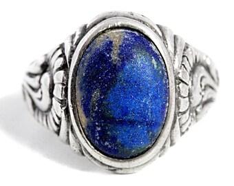 Antique Lapis Lazuli Mens Ring Art Nouveau Jewelry Silver