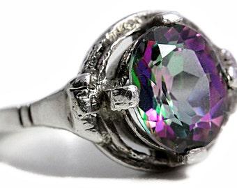 Mystic Topaz Ring Art Nouveau antique 800 Silver