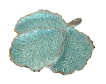 Vintage Aqua Leaf Bowl, 1950's California Pottery Aqua and Gold Leaf Dish, Divided Leaf Dish, Ceramic Leaf Dish, Mid Century Decor