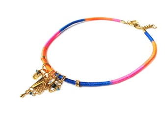 INKA - colorful choker necklace with gold trinkets, ethnic necklace, ethnic choker, rope necklace, tribal necklace, hippie necklace, boho