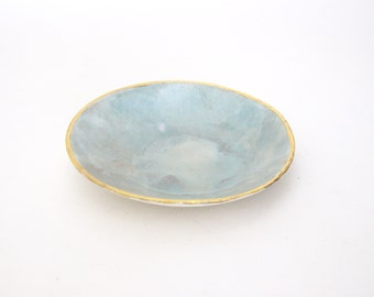 Porcelain ring dish light blue with gold luster
