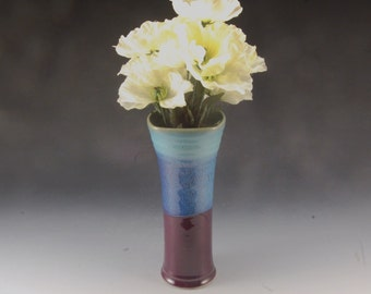 Handmade Stoneware Pottery Vase Turquoise and Purple by Mark Hudak