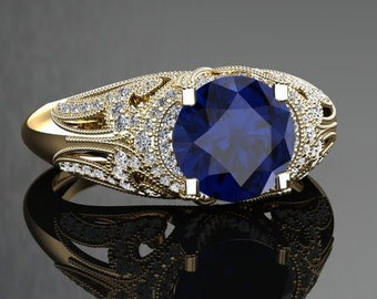 Blue Sapphire Engagement Ring Blue Sapphire Ring 14k or 18k Black Gold VS1BUY