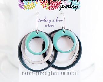 Large Hoop Earrings, Modern Earrings, Minimalist Jewelry, Geometric Jewelry, Mint Green White Gray, Handmade Ear Wires, Zen Garden, Calm