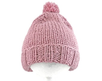 Pink Baby Hat - Hand Knit Acrylic Cap for Infants 3 to 6 Months - Soft Warm Pom Pom Beanie - Child Toboggan - Rose Bebe Toque