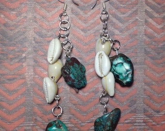 Raw turquise and cowrie shell earrings