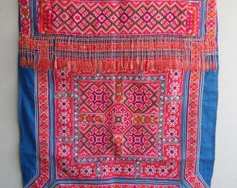 SALE Upcycled fabric, tribal design,reclaimed Hmong baby carrier,tapestry, hand embroidery, OOAK, upholstery quality, ethnicity fabric(E020)