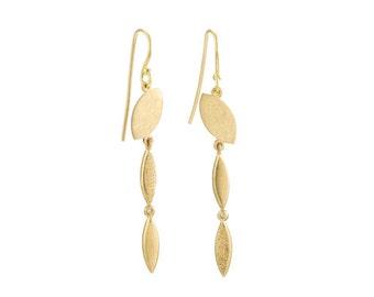 Long Diamond Earrings, Gold Diamond Earrings, Gold Dangle Earrings, 18k Gold Earrings, Gold drop Earrings, Solid Gold Bridal Earrings drop