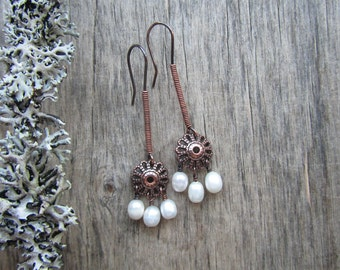 Freshwater pearl earrings Chandelier earrings Artisan earrings Copper earrings Freshwater pearl jewelry Copper jewelry Gift for her
