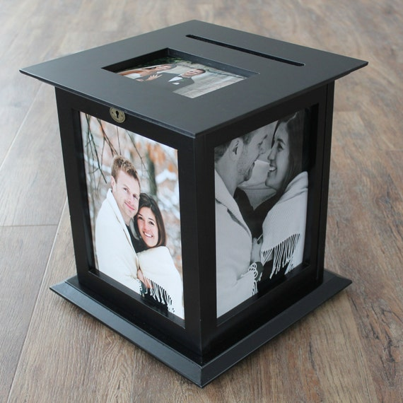 Black Photo Display Wedding Card Box With By KellyMarieCollection