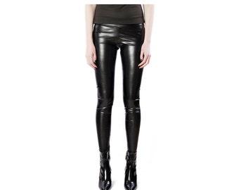 Vegan Leather Leggings - Stretch leather