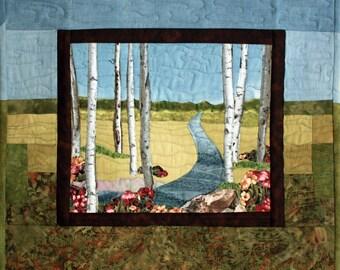 Fiber Art Quilt Wall Hanging River through Field with Birch Trees, Landscape Quilt, mini quilt, wall art, Blue and Green, Unique, Handmade