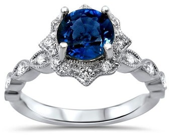 Round Blue Sapphire Engagement Ring Diamond Vintage Style 14k White Gold