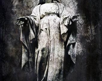 Catholic wall art, Virgin Mary, Mother Mary, statuary, religious art, Virgin Mary, statue, Catholicism, long robe, head covering, Christian