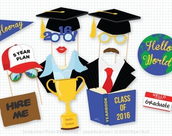 Graduation Photo Booth Props, Photobooth Props, College Graduation, University, Graduate Props, Graduation Party, Grad Party, Class of 2016